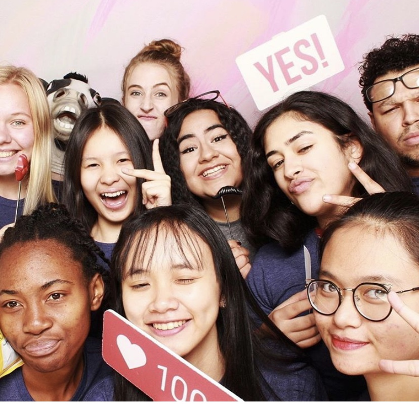 student leadership in photo booth