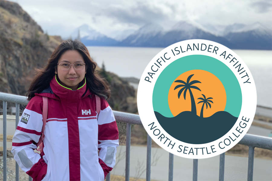 Ana Bungag stands by waterfront with mountains in background. Pacific Islander Affinity logo shows two palm trees in front of orange sunset.